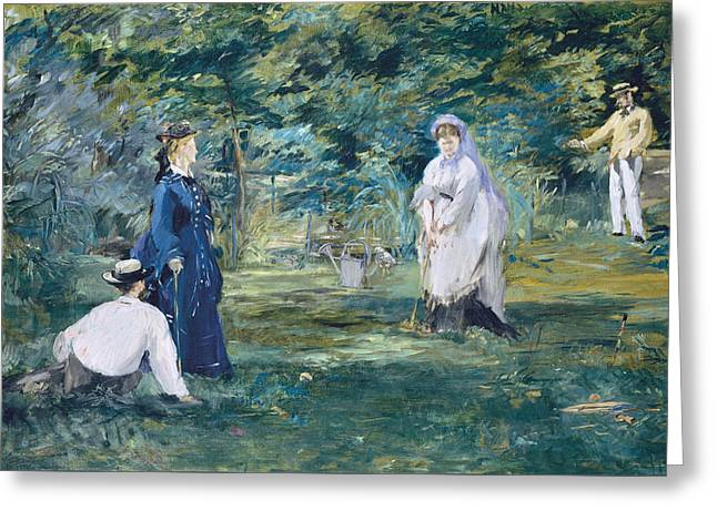 A Game Of Croquet 1873 Greeting Card