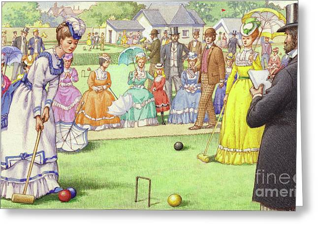 A Game Of Croquet At The All England Club At Wimbledon Greeting Card