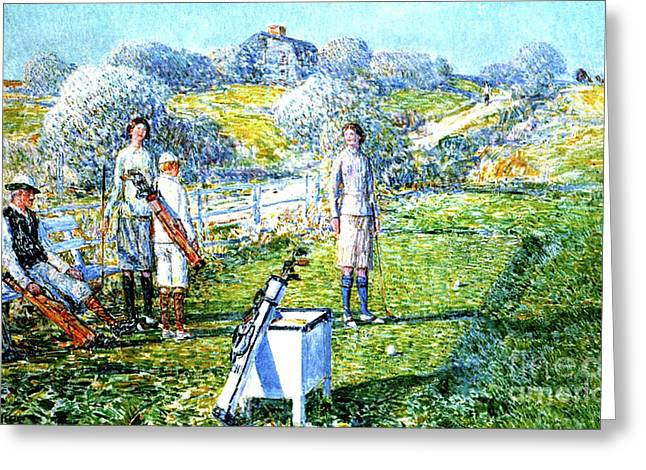 A Game Of Golf, 1923 Greeting Card by Childe Hassam