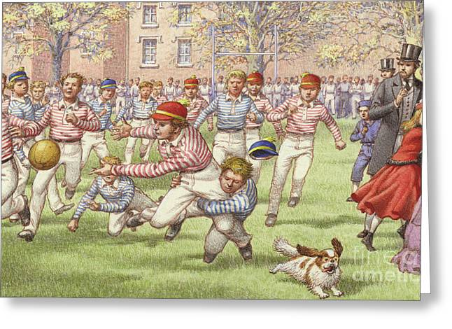 A Game Of Rugby Football Being Played At Rugby School Greeting Card by Pat Nicolle