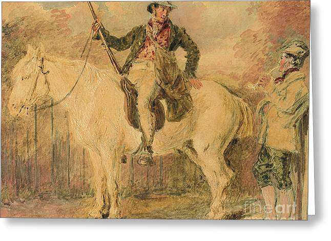 A Gamekeeper On A Horse And Another Man Conversing Greeting Card