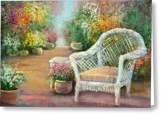 A Garden Chair Greeting Card by Sally Seago