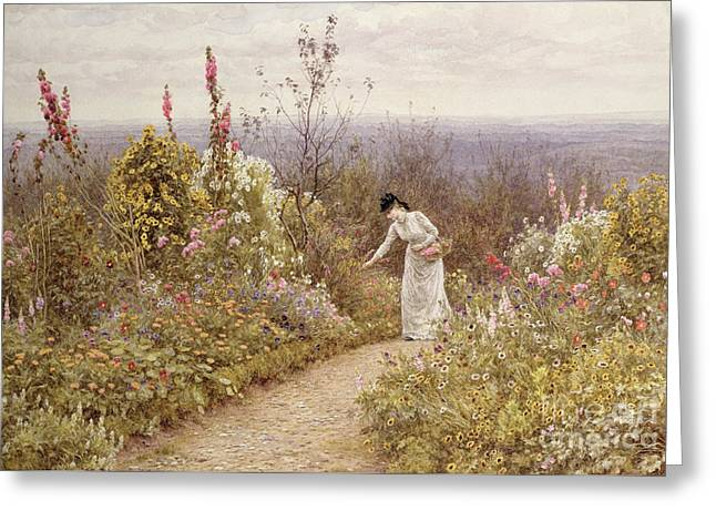A Garden In October, Aldworth, 1891 Greeting Card by Helen Allingham