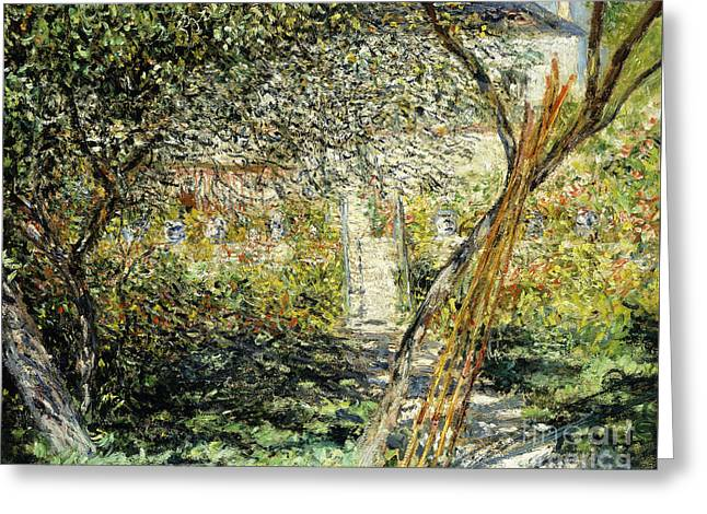 A Garden In Vetheuil Greeting Card by Claude Monet