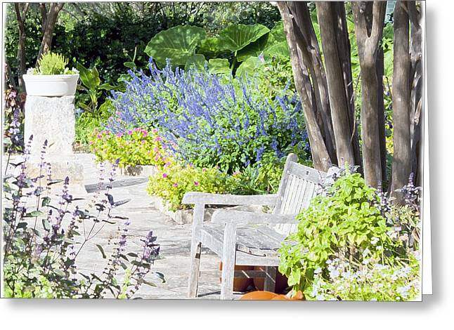 Greeting Card featuring the photograph A Garden Seat by Ken Frischkorn