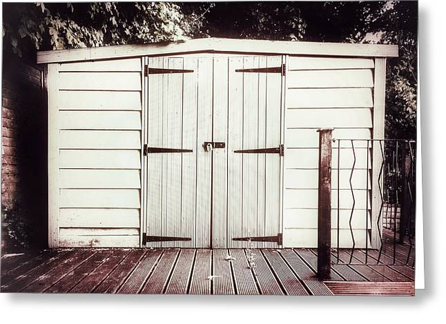 A Garden Shed Greeting Card by Tom Gowanlock