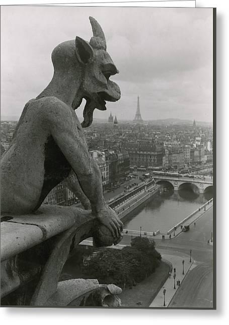 A Gargoyle Looking Over The City Greeting Card by Maynard Owen Williams