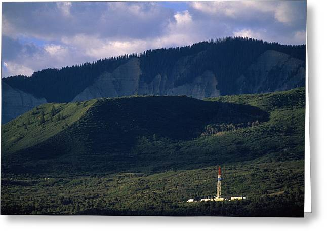 Image Setting Greeting Cards - A Gas Drilling Rig At The Foot Greeting Card by Joel Sartore