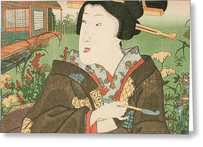 A Geisha With A Pipe Greeting Card by Utagawa Kunisada