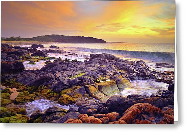 Greeting Card featuring the photograph A Gentle Wave At Sunset by Tara Turner