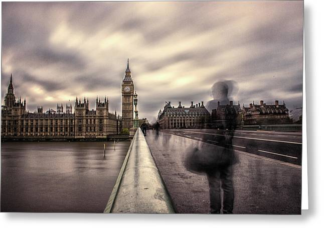 A Ghostly Figure Greeting Card by Martin Newman