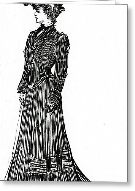A Gibson Girl In A Dress Greeting Card