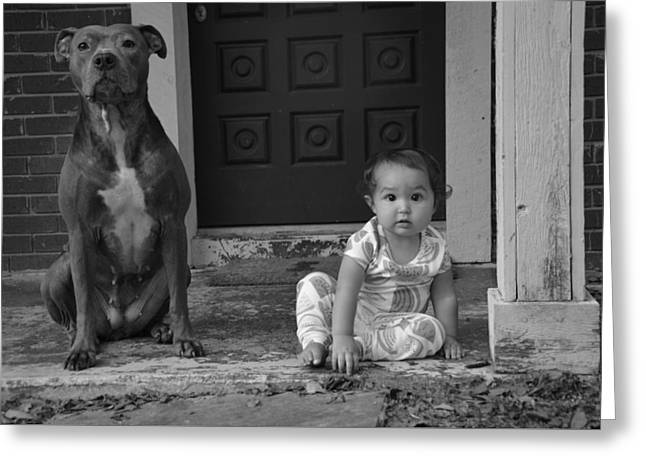 A Girl And Her Dog Greeting Card