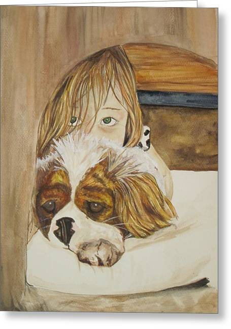 A Girl And Her Puppy Greeting Card by Tabitha Marshall