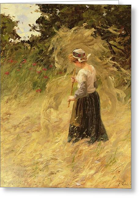 A Girl Harvesting Hay Greeting Card by Eugene Leon Labitte
