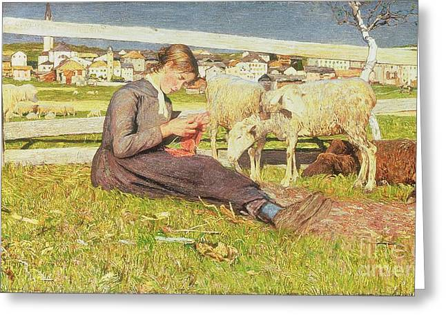 A Girl Knitting Greeting Card by Giovanni Segantini