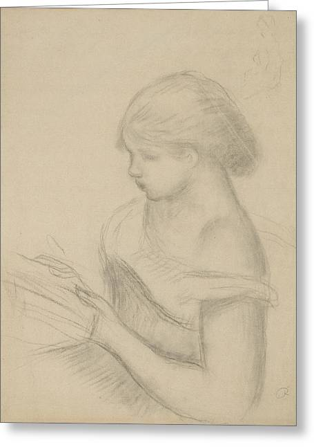 A Girl Reading  Greeting Card by Auguste Renoir