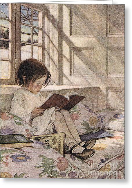 A Girl Reading Greeting Card