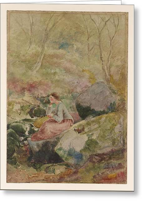 A Girl Seated On Rocks In A Wood Greeting Card by MotionAge Designs