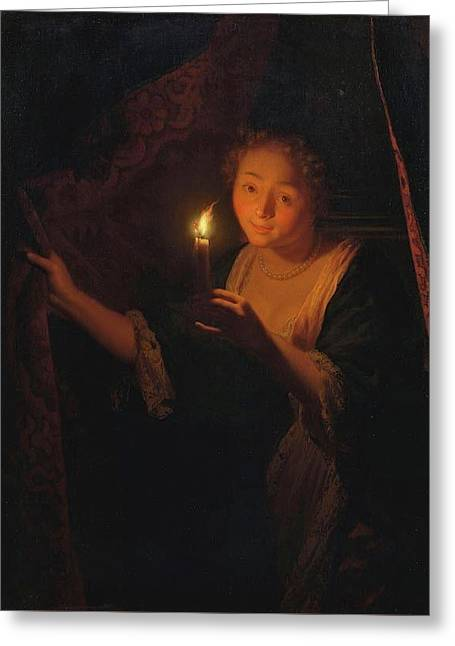 A Girl With A Candle Drawing Aside A Curtain Greeting Card