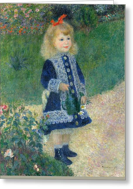 A Girl With A Watering Can 1876 Greeting Card by Pierre Auguste Renoir