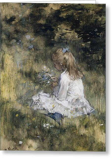 A Girl With Flowers On The Grass, Jacob Maris, 1878 Greeting Card by Celestial Images