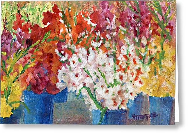 A Gladiola Party Greeting Card by Jimmie Trotter