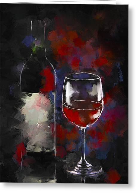 A Glass Of Red Greeting Card by Peggy Kahan
