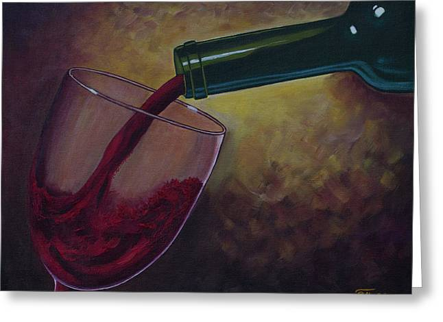 A Glass Of Red Wine. Wine Is Poured From A Bottle Into A Glass. Wine Bottle. Oil Paints. Greeting Card by Elena Pavlova