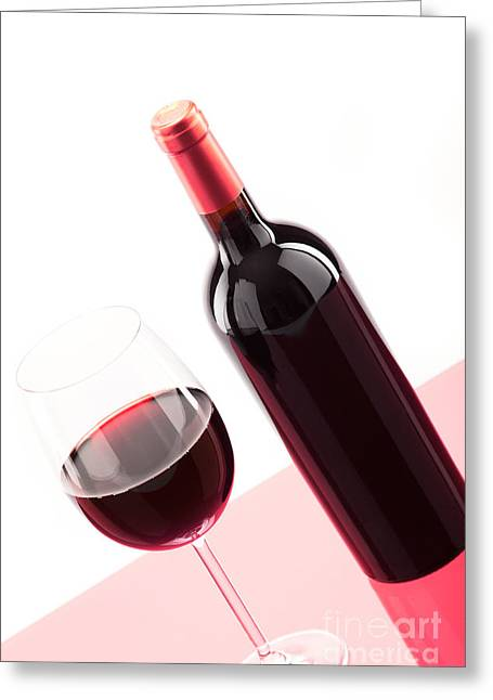 A Glass Of Red Wine With Bottle Greeting Card