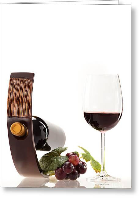 A Glass Of Wine Greeting Card by Wolfgang Steiner