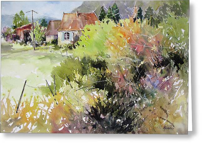 A Glimpse Beyond The Brambles, France.. Greeting Card by Rae Andrews