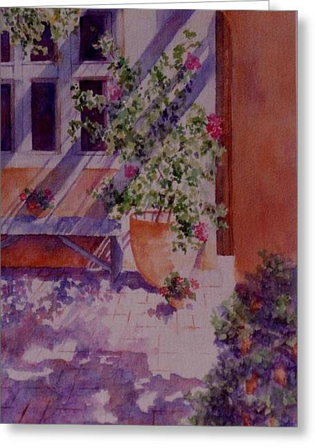 A Glimpse Of Santa Fe Greeting Card by Ann Peck