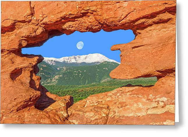 A Glimpse Of The Mighty Rockies Through A Rocky Window  Greeting Card