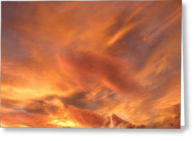 Tangerine Greeting Cards - A Glorious Evening Sky Greeting Card by Will Borden