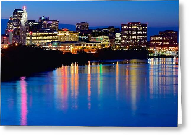 A Glorious Night In Hartford Greeting Card by Frozen in Time Fine Art Photography