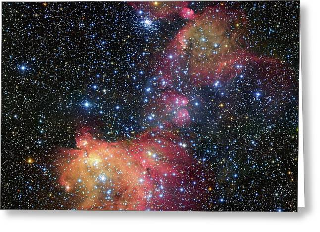 Greeting Card featuring the photograph A Glowing Gas Cloud In The Large Magellanic Cloud by Eso