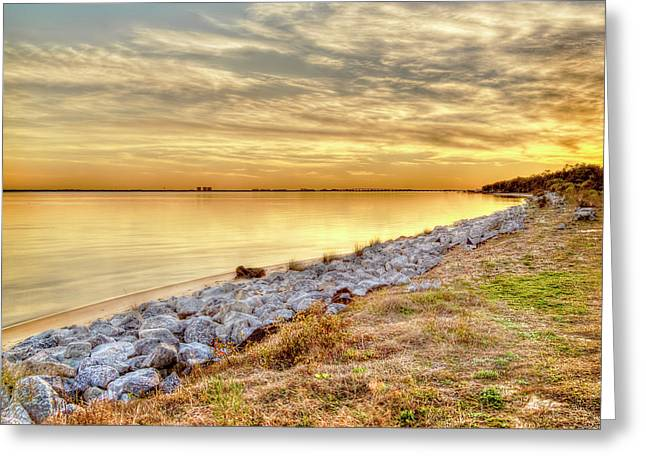 A Golden Bay Sunset In Florida  Greeting Card by Kay Brewer