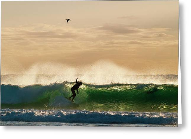 Greeting Card featuring the photograph A Golden Surfing Moment by Odille Esmonde-Morgan