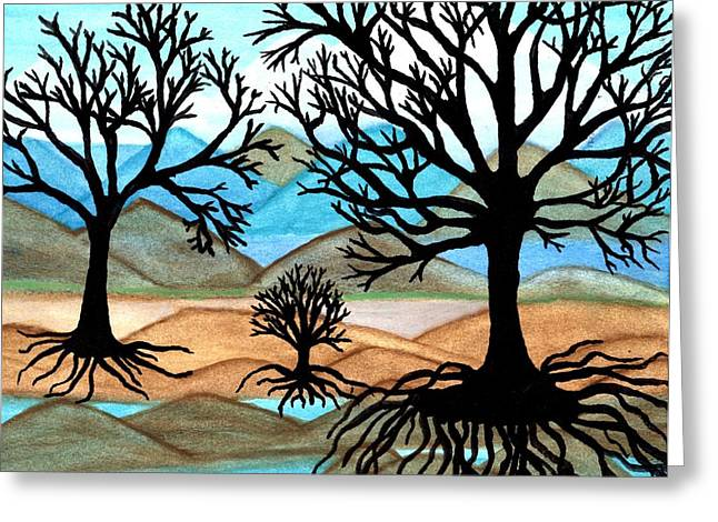 Tree Roots Paintings Greeting Cards - A Good Foundation Greeting Card by Connie Valasco