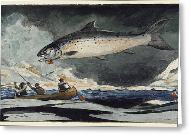 Greeting Card featuring the painting A Good Pool. Saguenay River by Winslow Homer