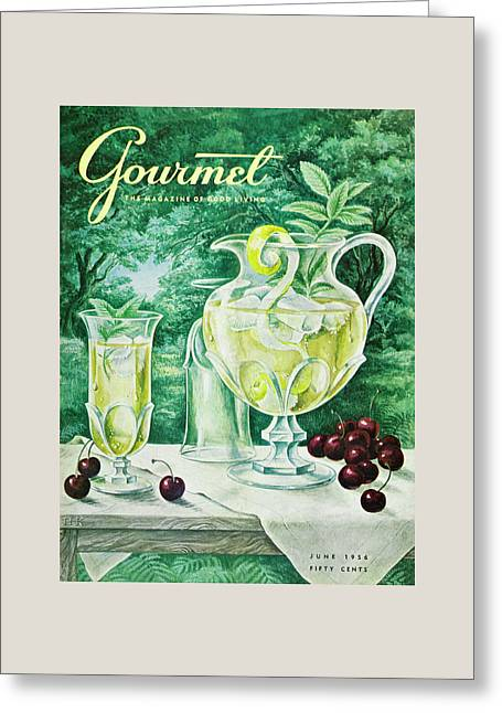 A Gourmet Cover Of Glassware Greeting Card by Hilary Knight