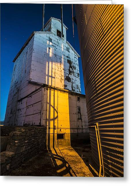 a grain elevator at dawn in Central Illinois  Greeting Card by Sven Brogren