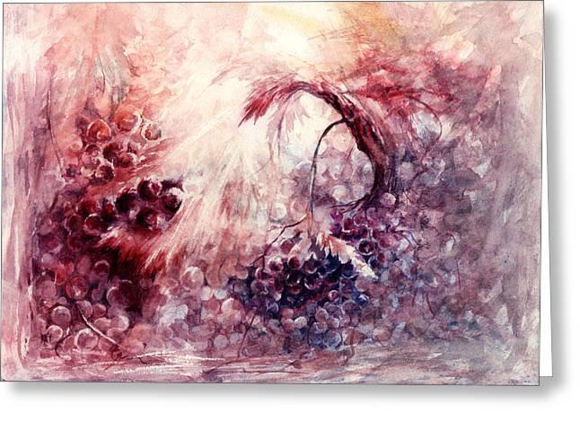 A Grape Fairy Tale Greeting Card by Rachel Christine Nowicki