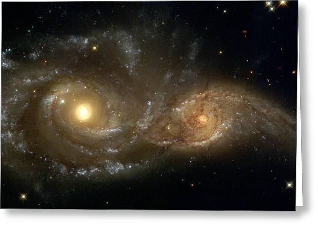 A Grazing Encounter Between Two Spiral Galaxies Greeting Card