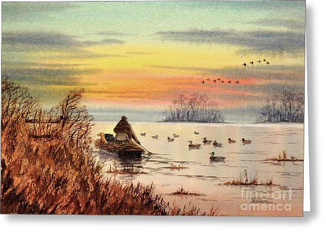 A Great Day For Duck Hunting Greeting Card by Bill Holkham