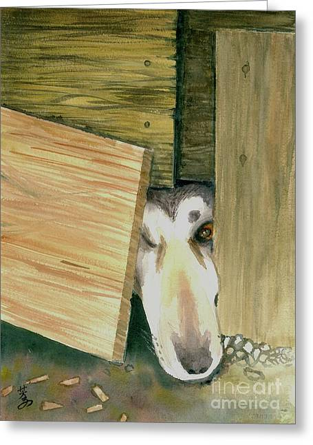 Greeting Card featuring the painting A Great Escape  -variation 2 by Yoshiko Mishina