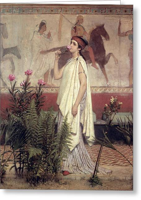 Picking Greeting Cards - A Greek Woman Greeting Card by Sir Lawrence Alma-Tadema