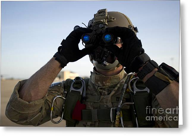 A Green Beret Checks Attached Night Greeting Card by Stocktrek Images