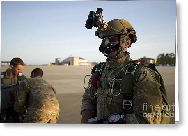 A Green Beret Waits To Have His Gear Greeting Card by Stocktrek Images